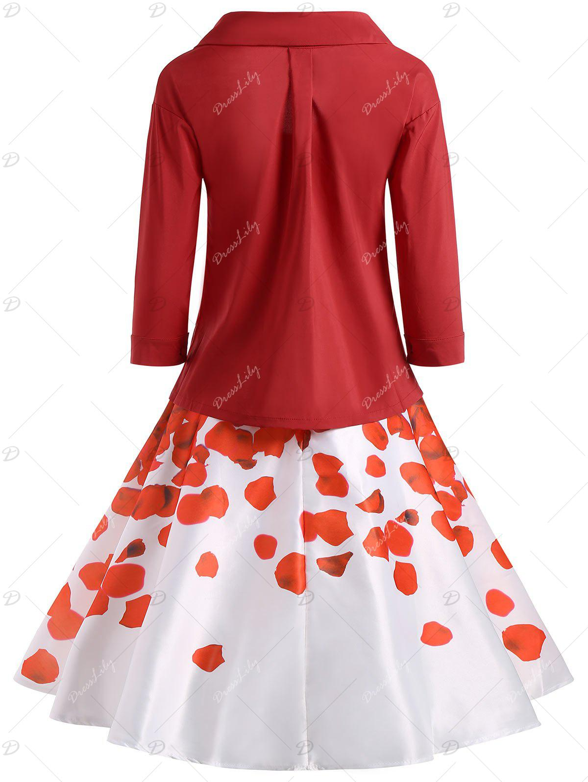 Button Up Blouse with Printed Skirt - RED 2XL