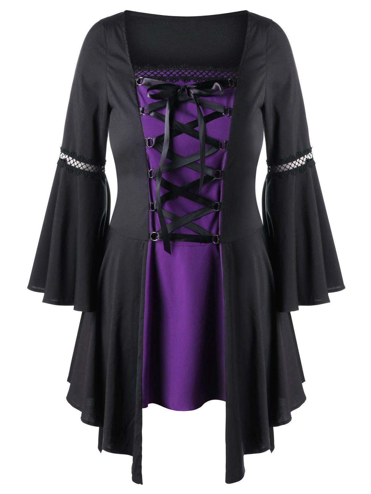 Plus Size Lace Up Handkerchief Top - BLACK/PURPLE 5XL