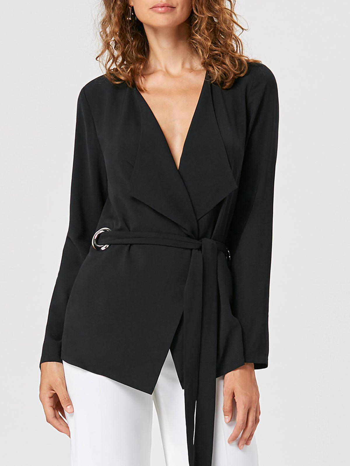 Waterfall Blazer with Tie Belt - BLACK XL