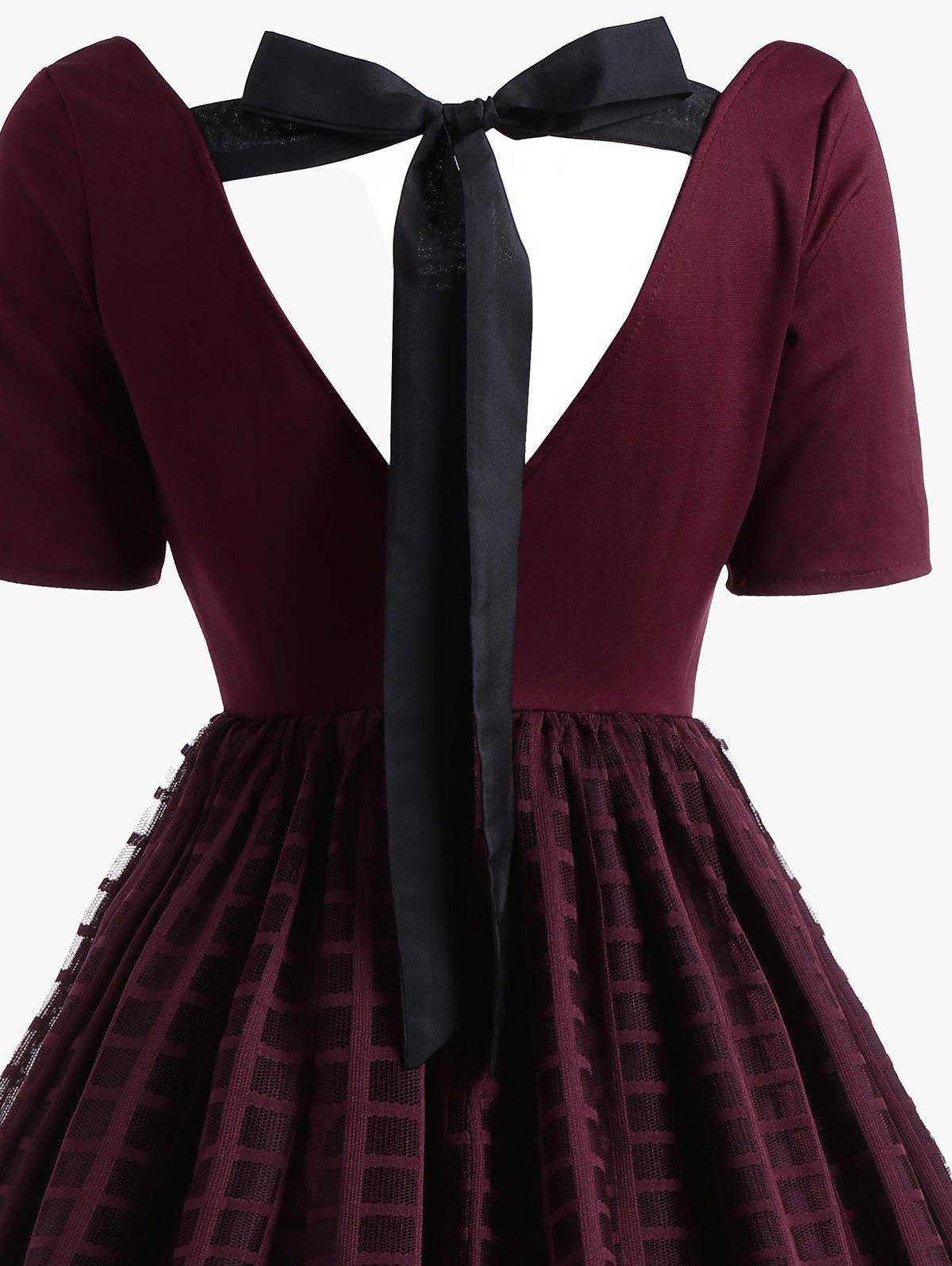 Bowknot Floral Plaid Lace Vintage Dress - WINE RED 2XL