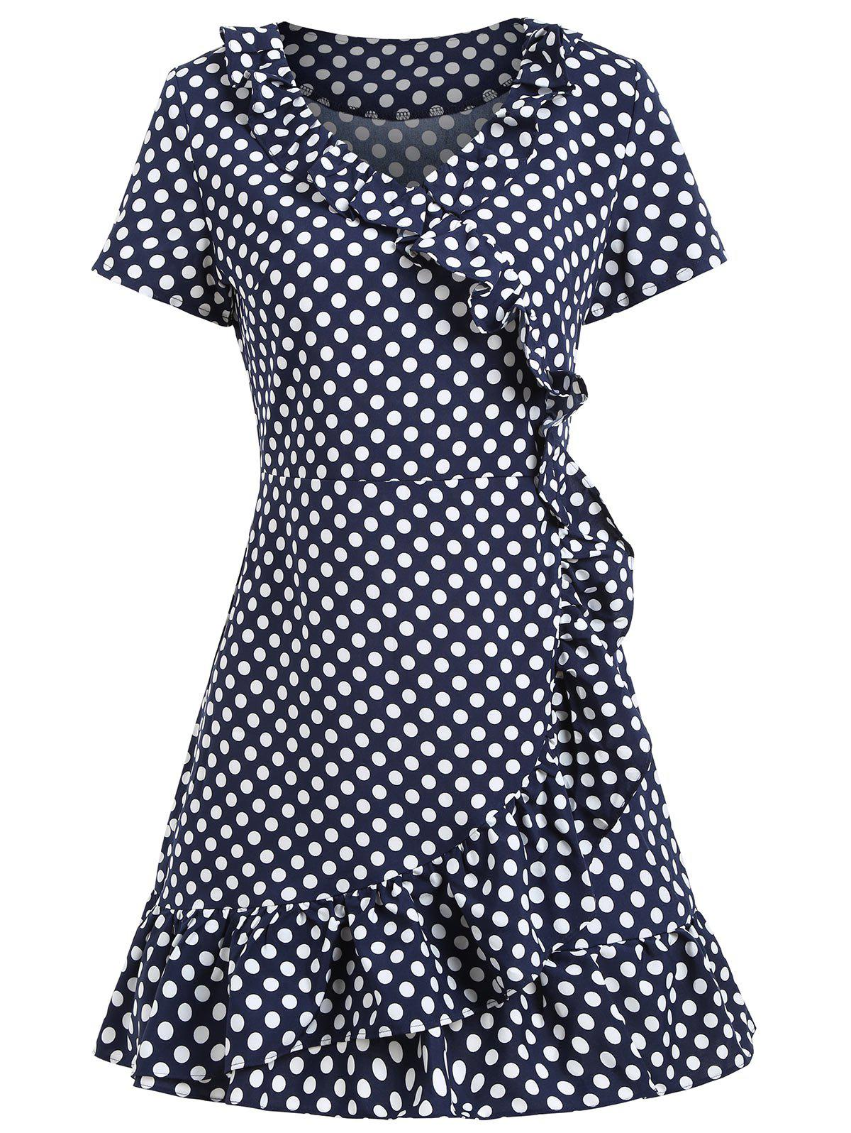 Polka Dot Ruffles Mini Dress - Bleu et Blanc S