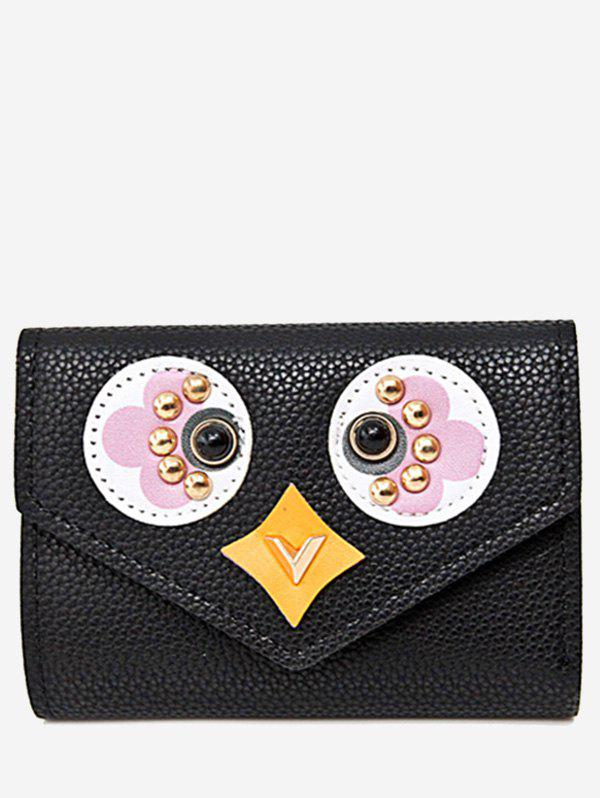 Envelope Textured Leather Studded Small Wallet - BLACK