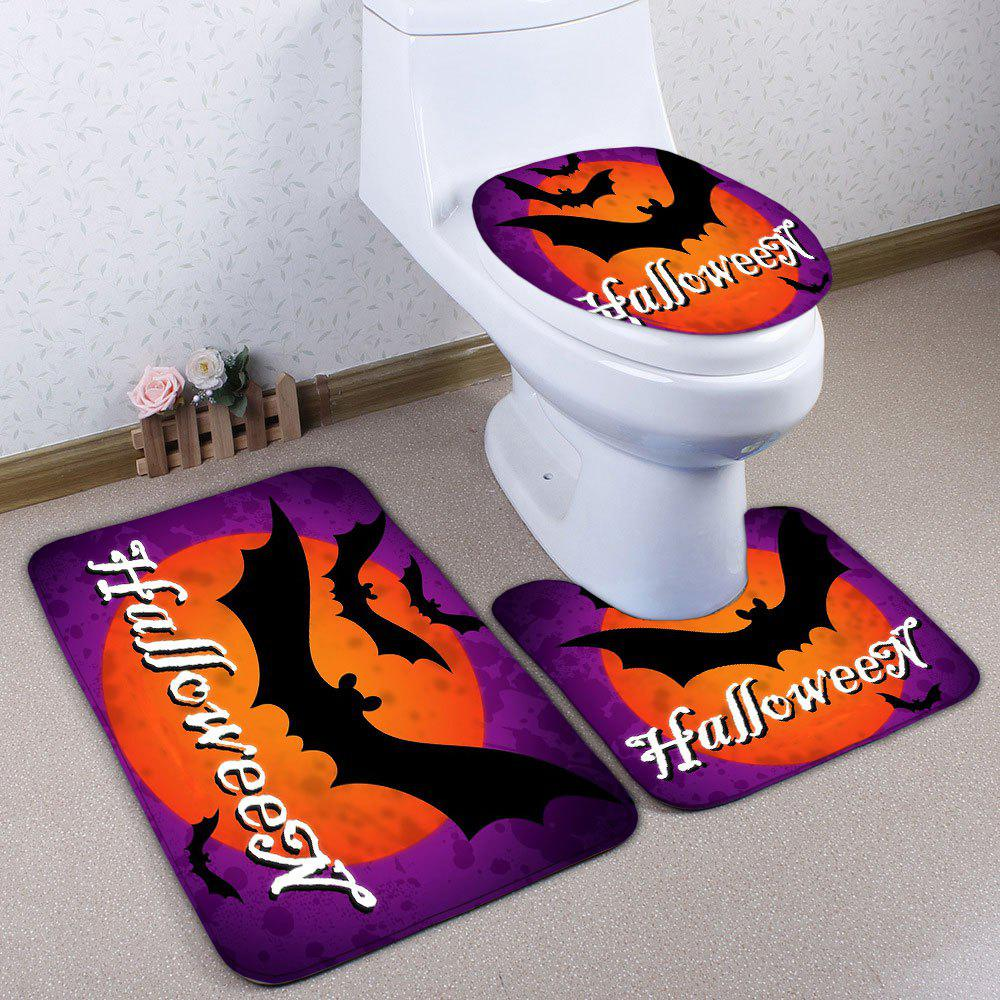 Halloween Bat Flannel 3PCS Bath Toilet Mats Set - PURPLE