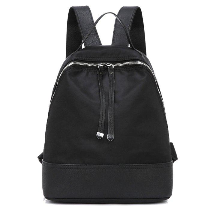 Nylon Zippers Faux Leather Insert Backpack - BLACK