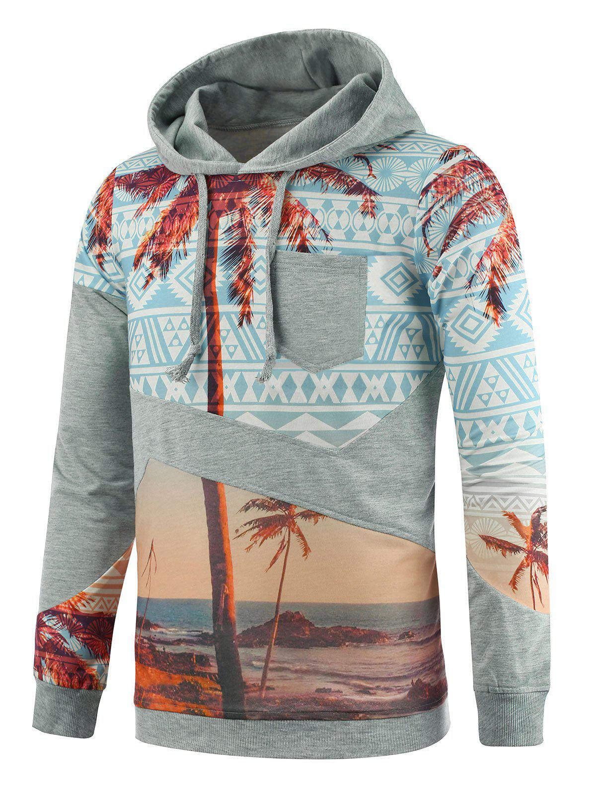 Sweat à Capuche Imprimé Cocotier Tribal avec Poche - multicolore 3XL