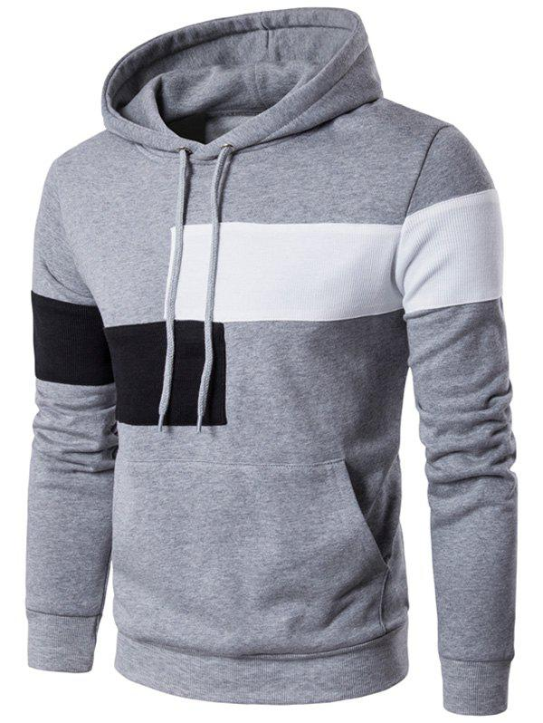 Color Block Kangaroo Pocket Drawstring Hoodie