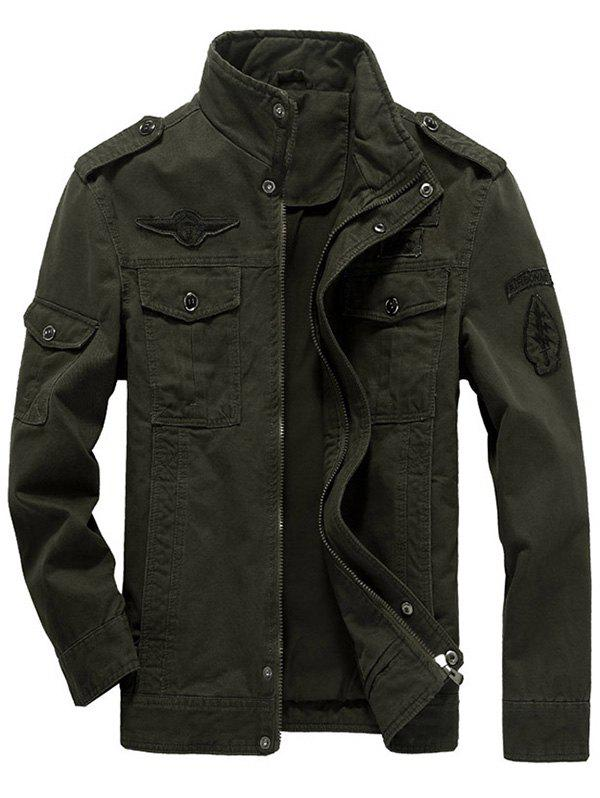 Flap Pocket Zip Up Patch Jacket - OLIVE GREEN L