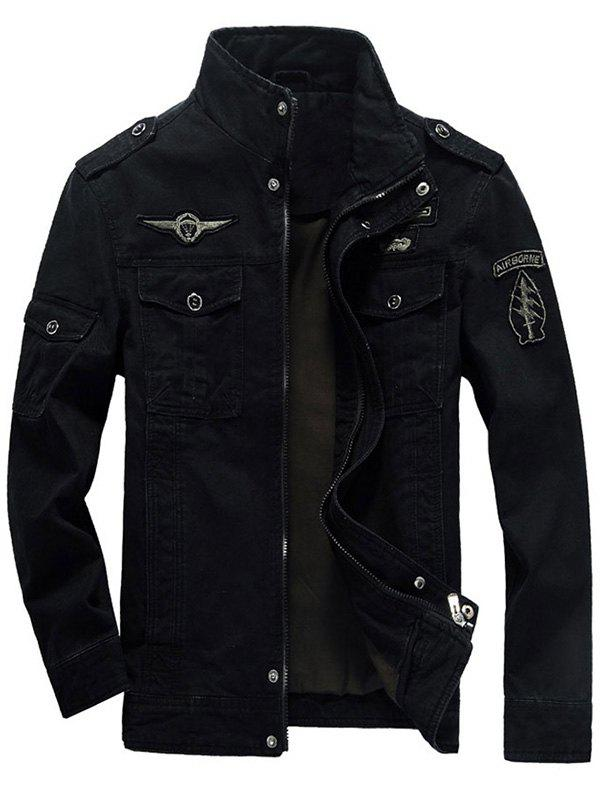 Flap Pocket Zip Up Patch Jacket - BLACK L