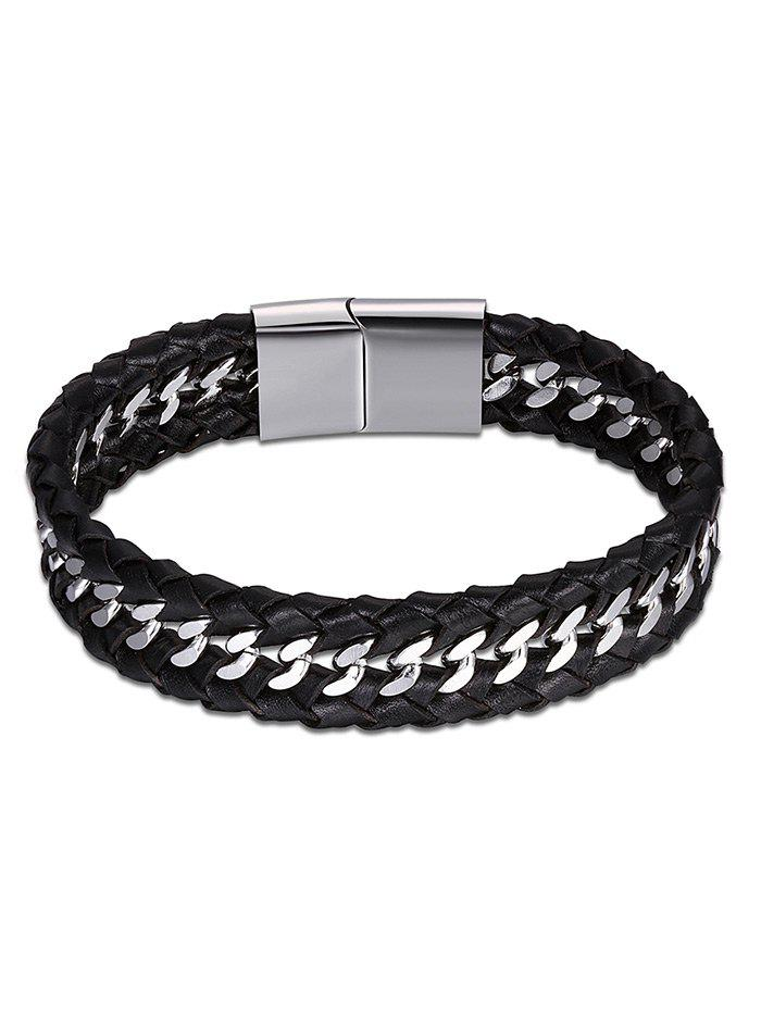 Bracelet Faux Leather Braid Cool - Noir