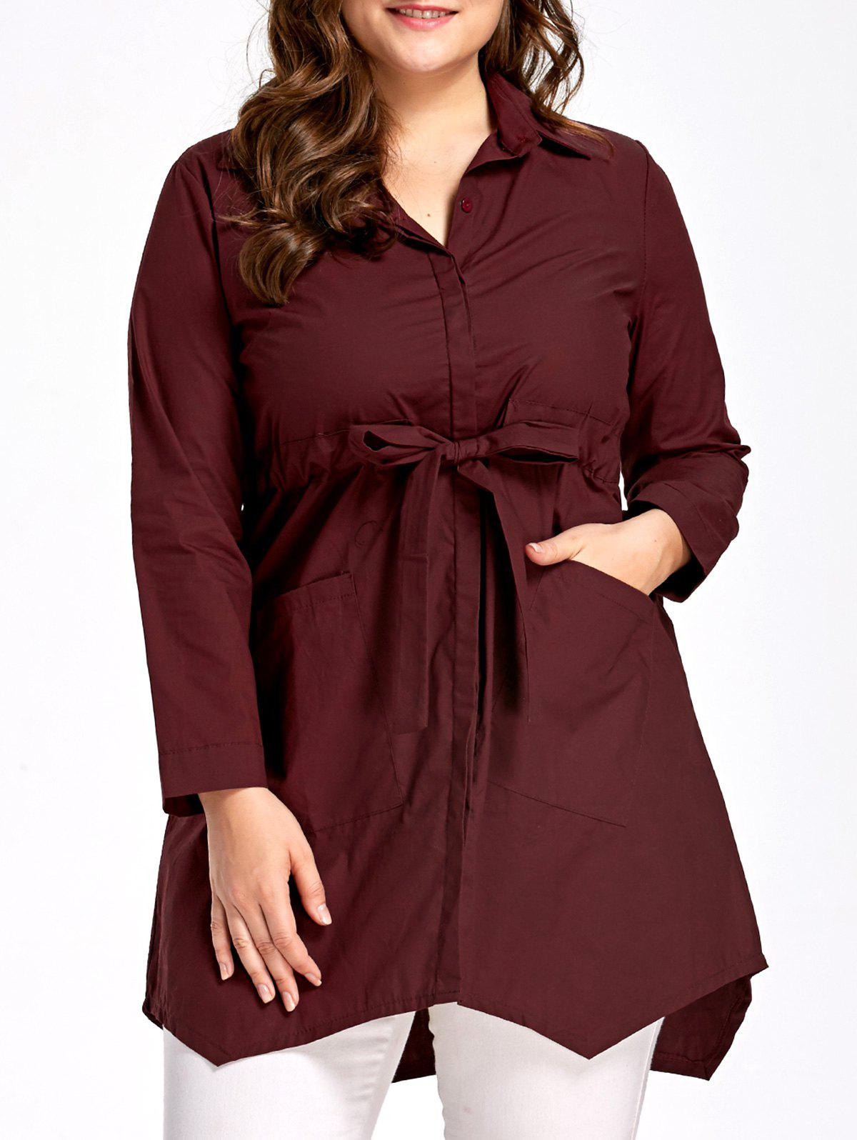 Bowknot Plus Size Pockets Tunic Top plus size bowknot embellished tunic top