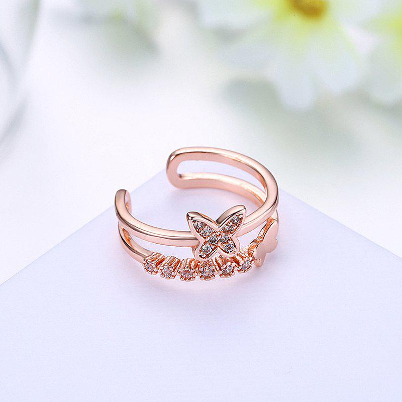Rhinestones Butterfly Hollow Out Cuff Ring - ROSE GOLD