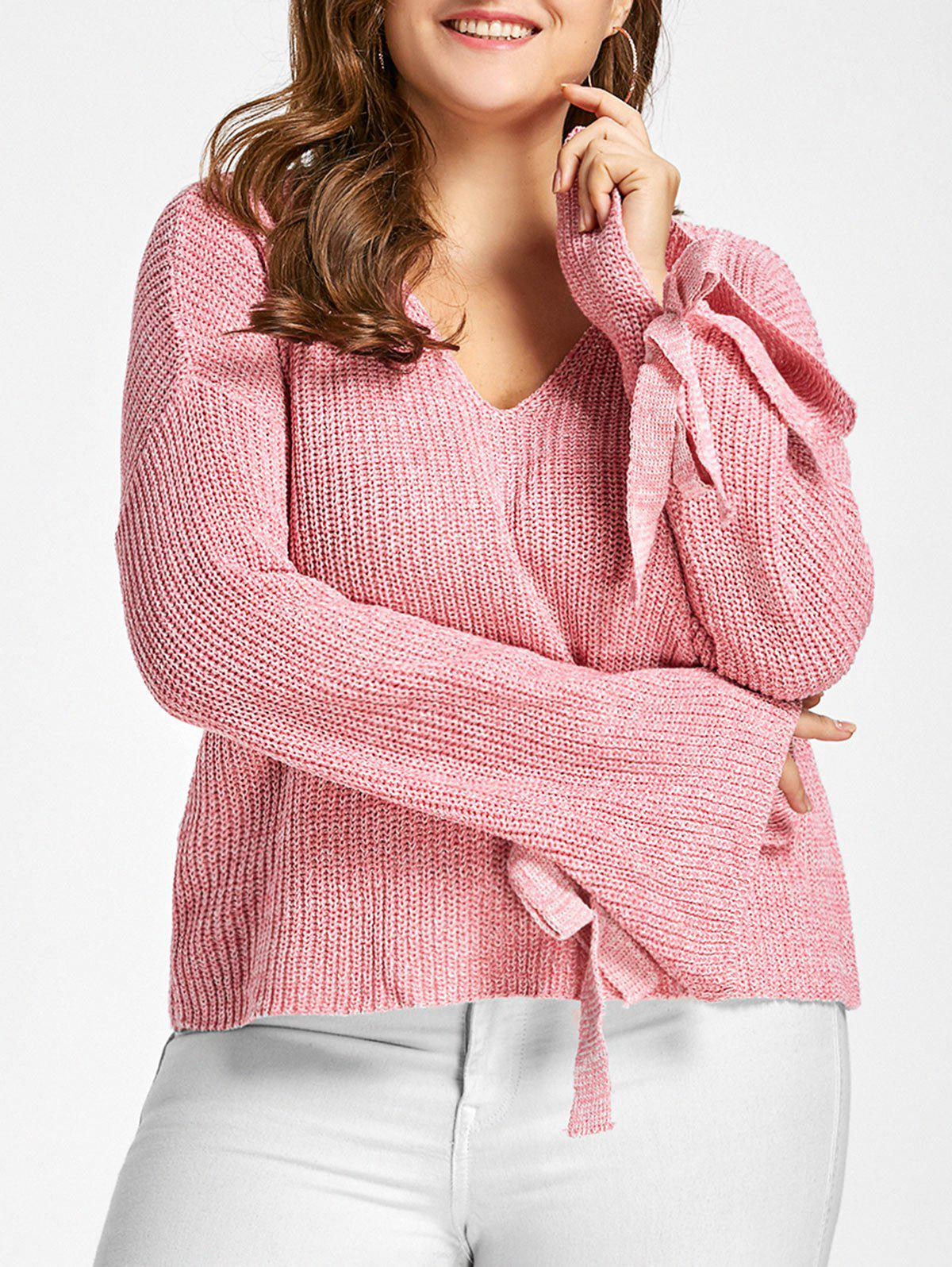 2018 Plus Size Bell Sleeve Drop Shoulder Bowknot Sweater LIGHT ...