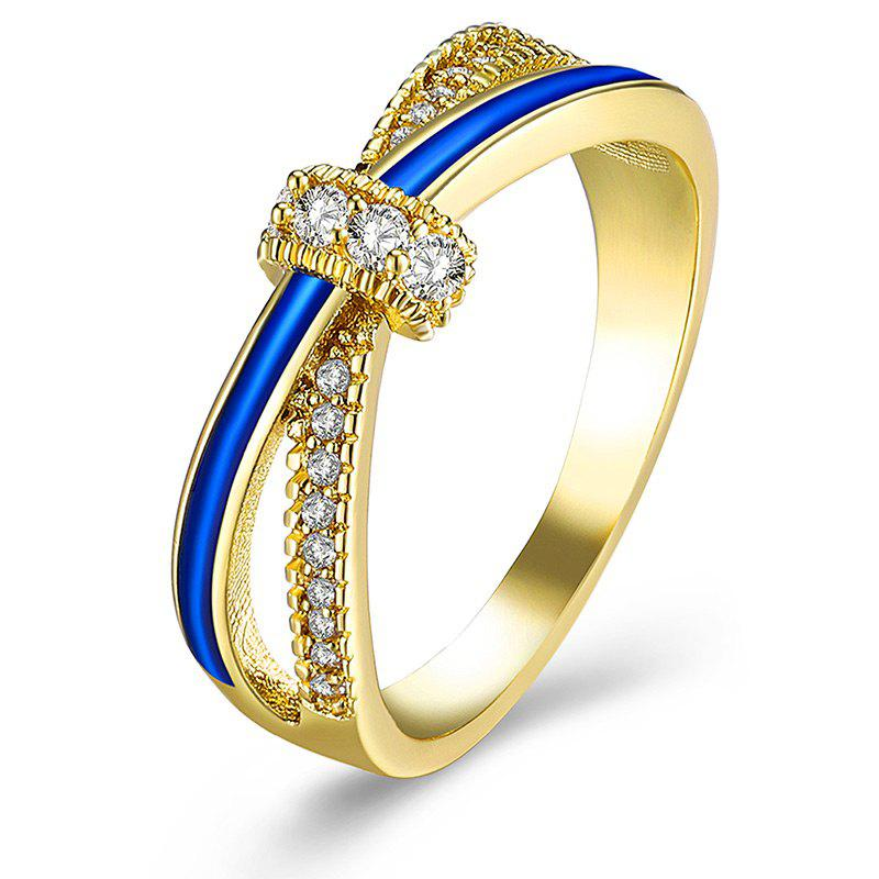Rhinestone Sparkly Two Tone Ring - GOLDEN 6