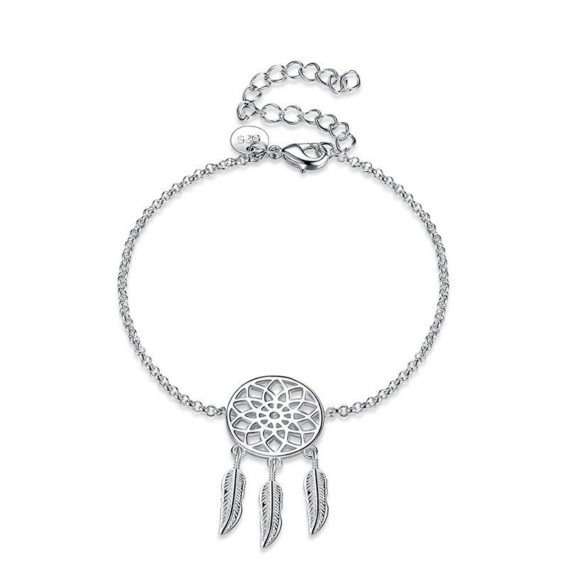 Dream Catcher Chain Charm Bracelet - SILVER