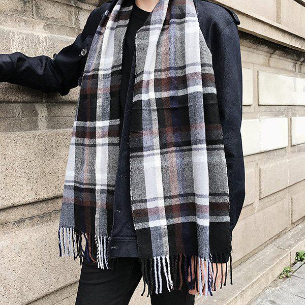 Cashmere-like Acrylic Yarns Plaid Printed Scarf - BLACK