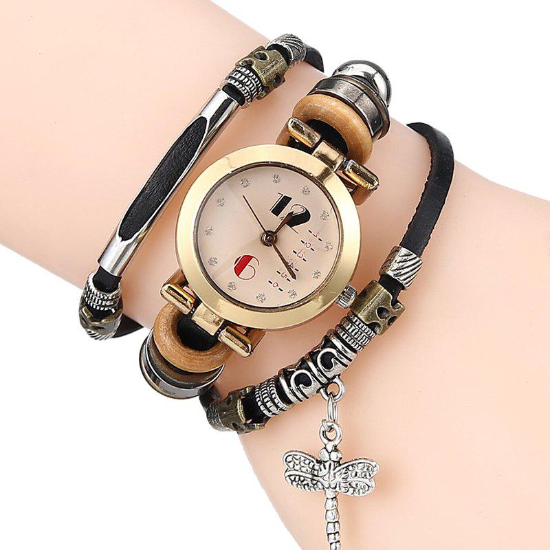 Dragonfly Charm Bracelet Watch - BLACK