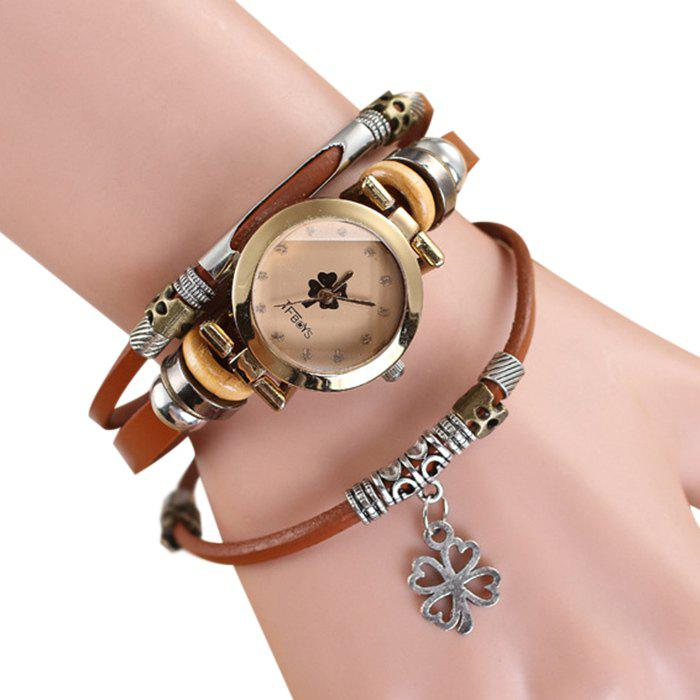 Four-leaf Clover Charm Bracelet Watch - LIGHT COFFEE