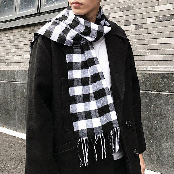 Fringed Cashmere-like Acrylic Yarns Plaid Scarf - WHITE/BLACK