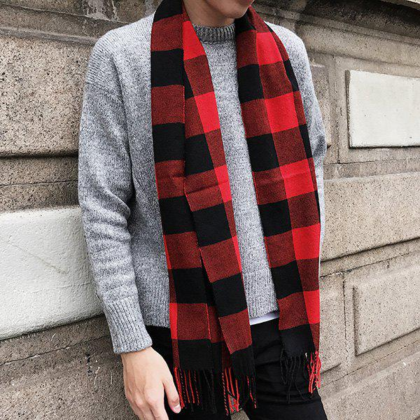 Fringed Cashmere-like Acrylic Yarns Plaid Scarf - RED/BLACK