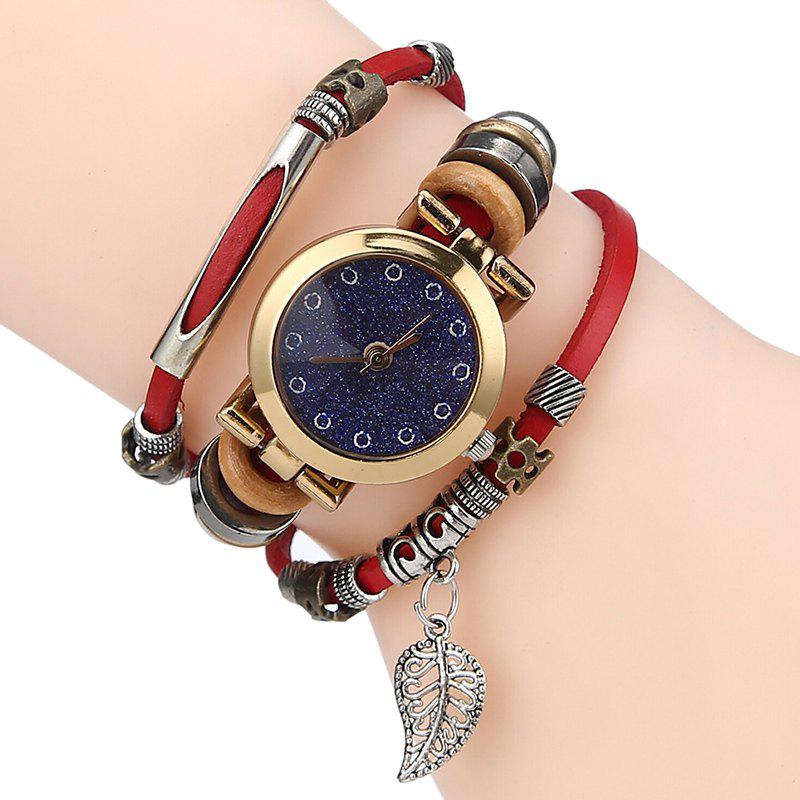 Leaf Charm Bracelet Watch - RED