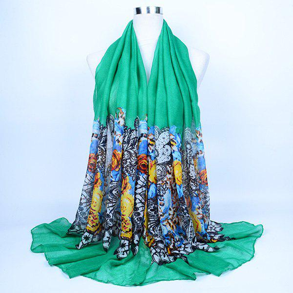 Flower and Lace Printed Voile Wrap Scarf - GREEN