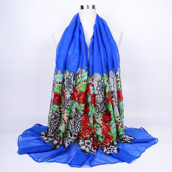 Flower and Lace Printed Voile Wrap Scarf - BLUE