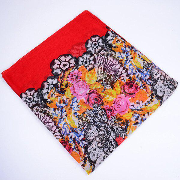 Flower and Lace Printed Voile Wrap Scarf - RED