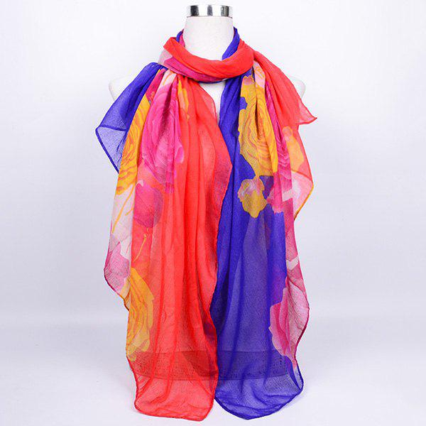 Flower Printed Color Block Voile Wrap Scarf - RED BLUE