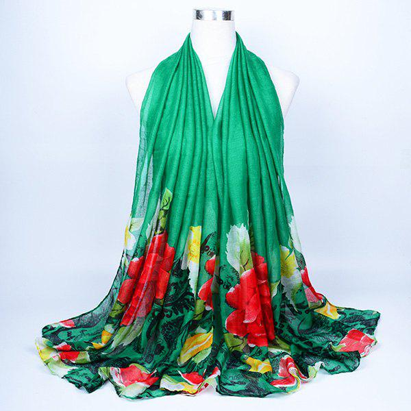 Flower Leaf Printed Voile Wrap Scarf - GREEN