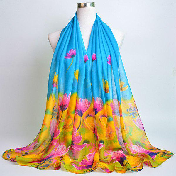 Flower Painting Printed Voile Wrap Scarf - AZURE