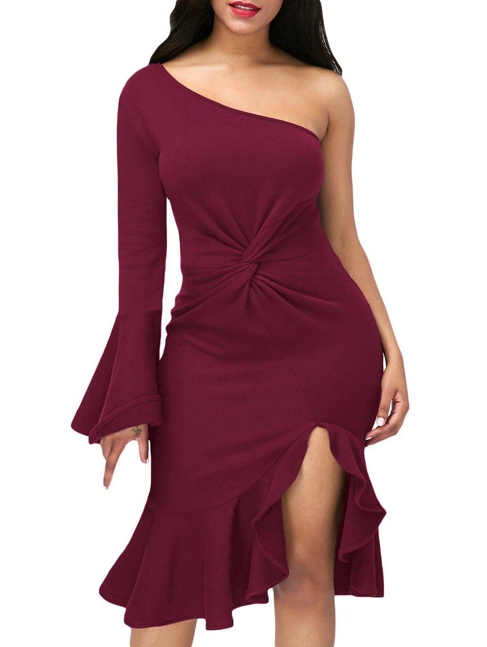 Twist Front One Shoulder Cocktail Dress - Rouge vineux M