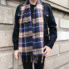 Cashmere-like Acrylic Yarns Plaid Printed Scarf - COFFEE