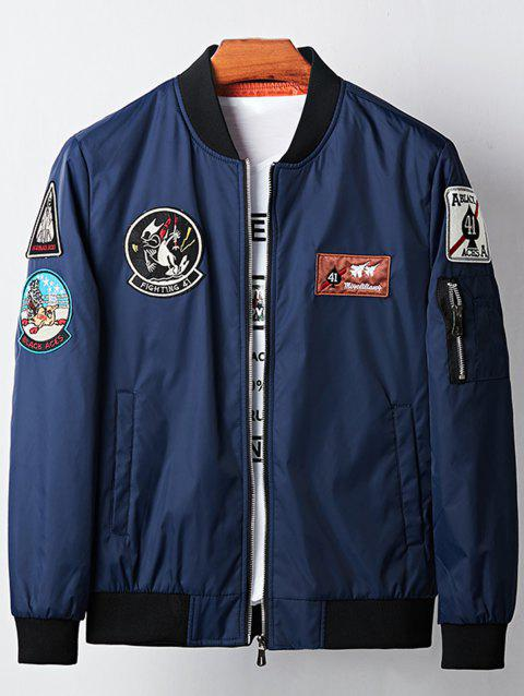 Graphic Embroidered Bomber Jacket - BLUE L