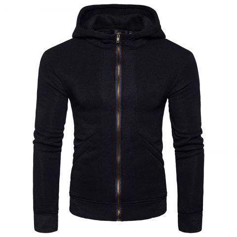 Fleece Rib Panel Zip Up Hoodie - BLACK M