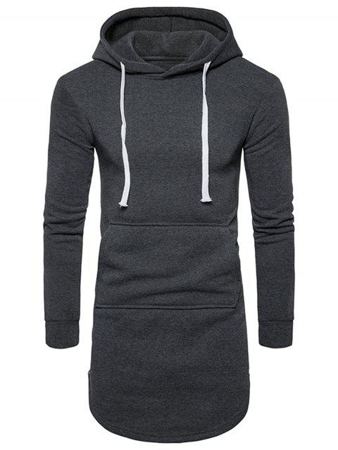 Side Zip Curve Bottom Fleece Longline Hoodie - DEEP GRAY S