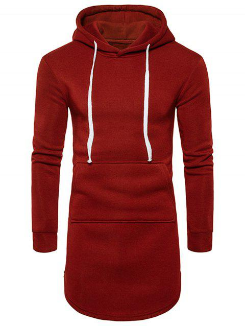 Side Zip Curve Bottom Fleece Longline Hoodie - RED S