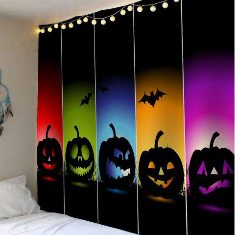Waterproof Halloween Colorful Pumpkins Bats Printed Tapestry - COLORFUL W71 INCH * L71 INCH
