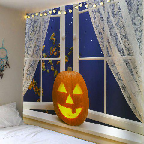 Halloween Pumpkin Window Printed Waterproof Wall Art Tapestry - YELLOW W59 INCH * L59 INCH