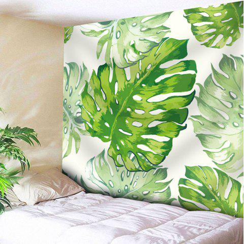 Natural Palm Leaves Wall Art Tapestry - WHITE/GREEN W91 INCH * L71 INCH