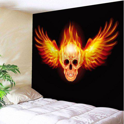 Waterproof Fire Skull Wing Pattern Wall Hanging Tapestry - YELLOW/BLACK W79 INCH * L71 INCH