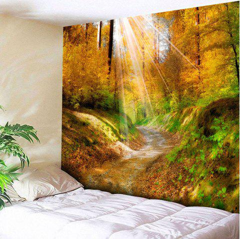 Hanging Maple Grove Pathway Wall Art Tapestry - YELLOW W59 INCH * L51 INCH