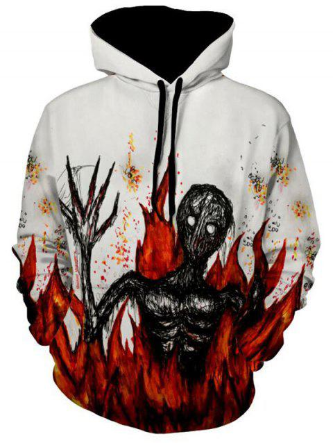 Flame Devil Print Drawstring Halloween Hoodie - WHITE XL