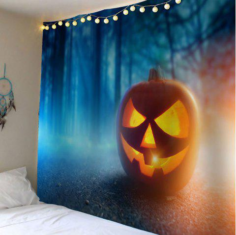 Halloween Pumpkin Foggy Forest Wall Decor Waterproof Tapestry - GINGER W79 INCH * L71 INCH