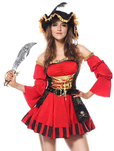 Ruffled Pirate Cosplay Costume - RED L