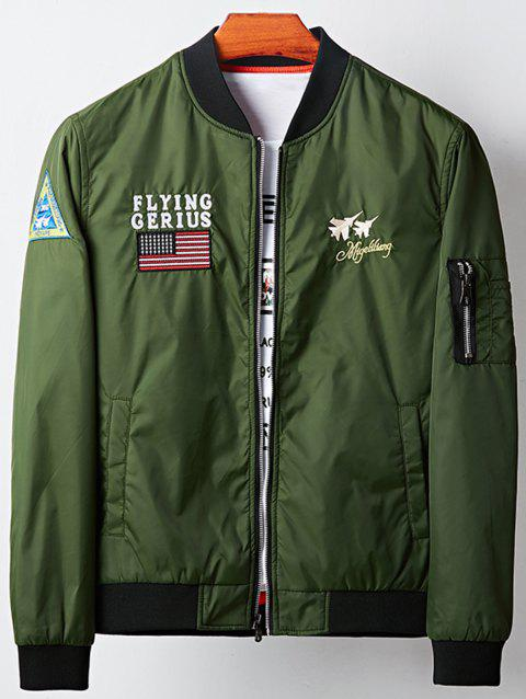 Applique Graphic Aircraft Embroidered Bomber Jacket - ARMY GREEN L