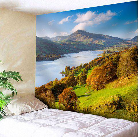 Mountains and Trees Pattern Waterproof Wall Art Tapestry - COLORFUL W71 INCH * L71 INCH