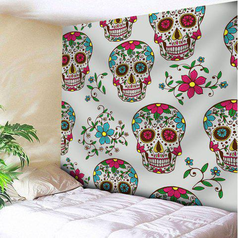 Waterproof Skulls Floral Printed Wall Tapestry - COLORFUL W59 INCH * L59 INCH