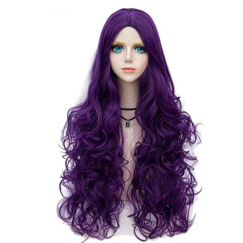 Long Middle Part Fluffy Wavy Halloween Party Synthetic Wig - PURPLE