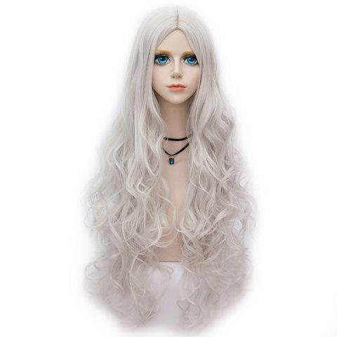 Long Middle Part Fluffy Wavy Halloween Party Synthetic Wig - SILVER WHITE