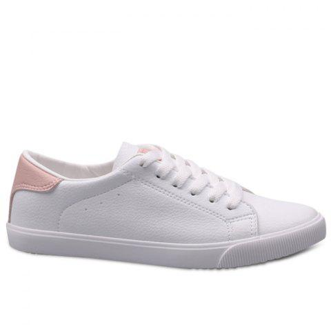 Faux Leather Color Block Sneakers - PINK 37